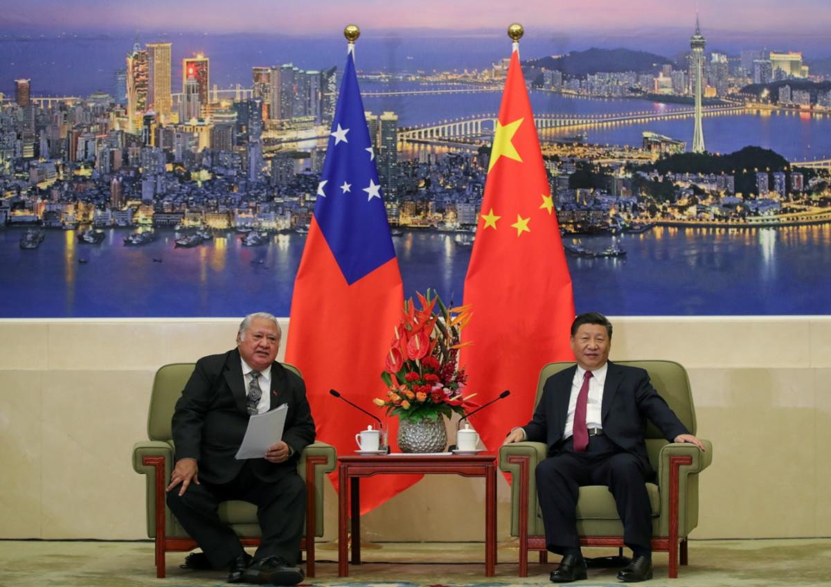 Samoas Prime Minister Tuilaepa Lupesoliai Sailele Malielegaoi meets with Chinas President Xi Jinping Beijing 2018