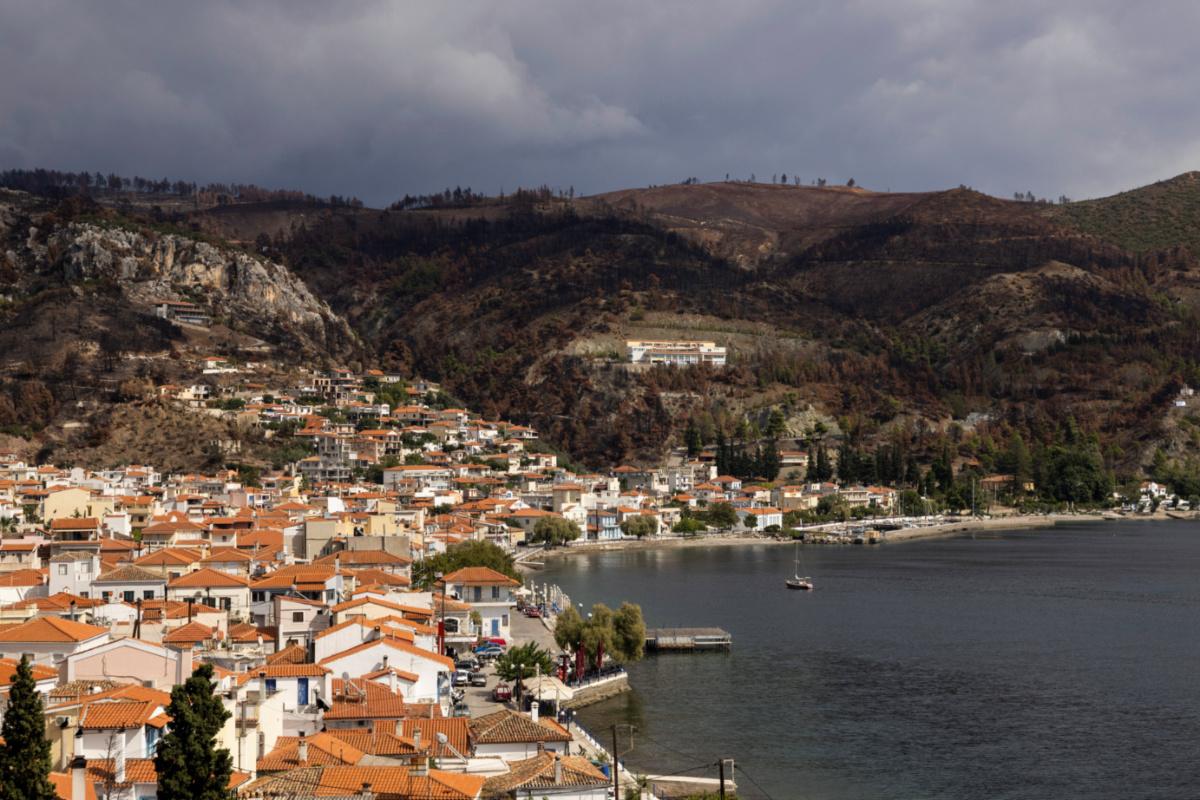 Greece Evia Limni burned hills