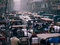 SNAPSHOT: CROWDED NEW DELHI STREET, INDIA